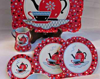 Tin Litho Toy Dishes Garden Party Tea Set 6 Pieces Ohio Art Mid Century Vintage