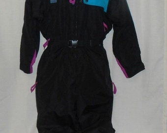 COLUMBIA Ski Suit Insulated Size L RADIAL SLEEVE Hooded 1-Piece Black Teal Pink