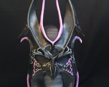Black& Purple Leather Mask Halloween Villian Festival Mask Masquerade Mardi Gras Carnival Scary Renaissance Faire Goth Evil Cosplay Fetish