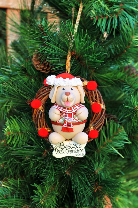 Dogs first Christmas ornament personalized holiday