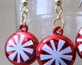 Sparkling Peppermint Christmas Candy Ornament Earrings, Holiday Jewelry Handmade Candy Cute Fun Fashion Jewelry Bright Colors Metallic