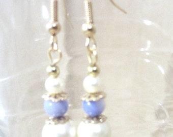Something Blue Pearl Sodalite Earrings, Cream Pearl & Semi Precious Stone Earring, Jade Amethyst Sodalite Simple Pearl Wedding Earrings