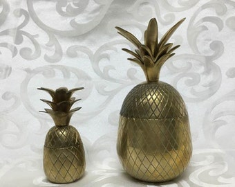 Vintage Brass Pineapple Containers ~ Hollywood Regency Home Decor ~ Large & Small
