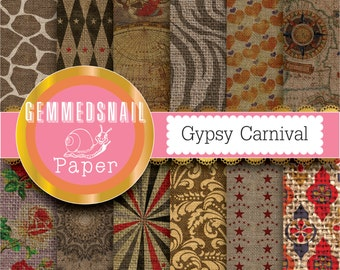 Boho digital paper 'Gypsy Carnival' patterned burlap digital paper.  Old burlap textures with vintage carnival patterns, bohemian style