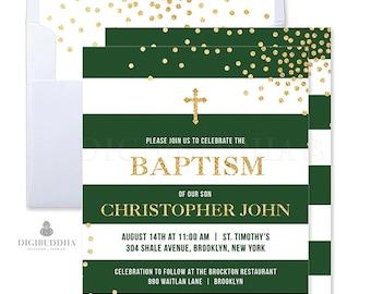 Emerald Green and Gold Baptism Invitation Christmas Baptism Invitations Boy Baptism Invitation Printed Holiday Christening Invites - Krissy