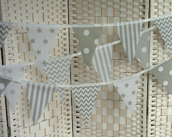 """Banner, bunting. 5""""x 7"""" flags. Grey (gray) and white. Per metre. Mixed prints. Stars, chevrons, spots, stripes. Single-sided flags."""