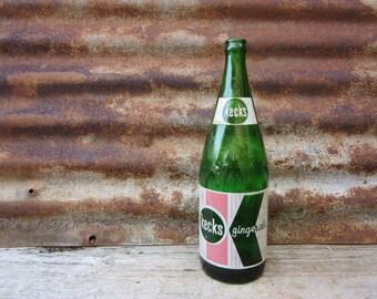 Keck's Ginger Ale Kecksburg Pa Uniontown 32 Ounce Vintage 1950s Era Glass Bottle Green Glass Will Keck Retro Soda Glass Vase Vintage Bottle