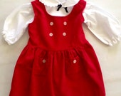 Vintage 1950s Girls' Red Corduroy Jumper and White Blouse by Etell Size 4