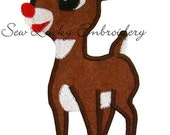 Rudolph Applique Embroidered Patch, Sew or Iron on