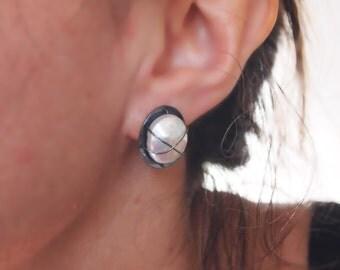 MODERN STUD EARRING, Oxidized Sterling Silver & White Coin Fresh Water Pearl, Silver Cross Stud Earring, X Earring, Black and White Earring