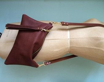 Brown leather handbag, simple tan purse, leather evening bag, leather crossbody purse