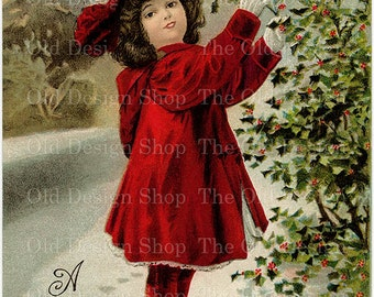 Girl in Red Picking Holly Berries Vintage Christmas Postcard Digital Download JPG
