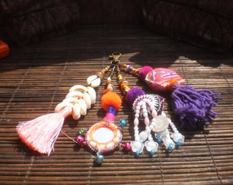 Tribal Textile, Beads and Everything  Key chain, Tribal Key Chain, Bag Decoration, Boho Key Chain