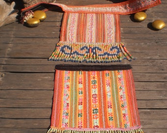 Hmong Vintage Embroidered And Beaded Textile Panel Set Of 2