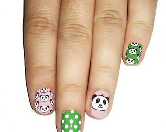 Panda Nail Wraps. Cute Panda Pattern Nail Polish Strips.