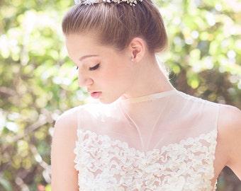 Wedding silk flower crown, Bridal white floral halo, crystal hair vine, lace flowers headpiece, woodland tiara, bride head wreath -Style 330