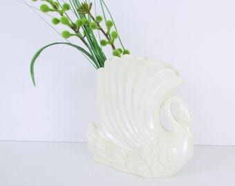 Art Deco White Swan Vase Planter by Royal Haeger- Vintage Pottery - Home Decor