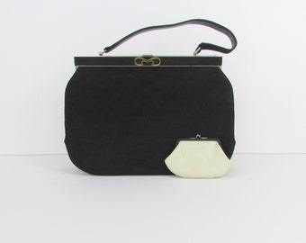 Normandie Black Faux Suede Handbag - Vintage 1960s Frame Purse and Coin Pouch