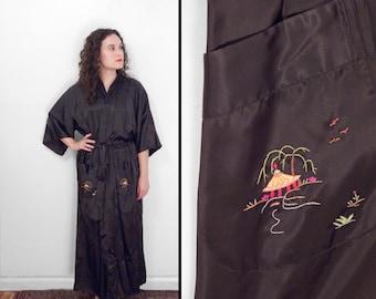 Black Embroidered KIMONO Robe 1970s Longevity Rainbow Pagoda One Size
