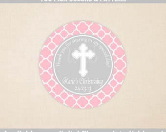 Christening Favor Stickers - Baptism Favor Stickers - Custom - Cross Stickers - Religious Stickers - Digtal & Printed