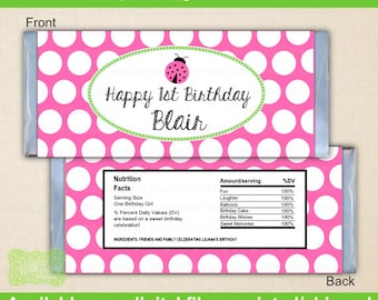 Pink Ladybug Candy Bar Wrapper - Ladybug Chocolate Bar Wrapper - Pink Polka Dot Chocolate Bar Wrapper - Digtal & Printed Available