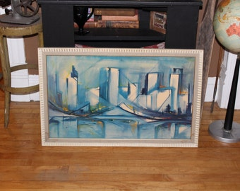 Pair Framed Mid Century Modern Prints Blue Seascape Cityscape Vintage 1950s 32.5 x 20.5 Inches