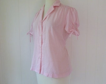 Vintage Peekaboo Puff Sleeve Shirt Pink Gingham Button Front Western Rockabilly Pin Up Blouse L