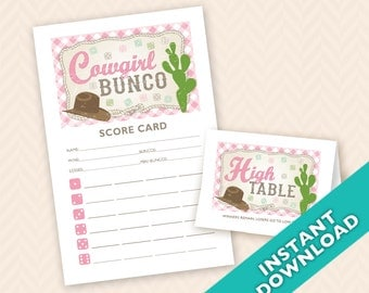 Downloadable  Cowgirl Bunco Printable Bunco Scorecard and Table Marker Set (a.k.a. Bunko, score card, score sheet)