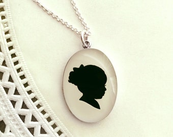 Mother's Day Custom Sterling Oval Child or Pet Silhouette Necklace for Mother or Grandmother