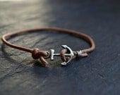 mens bracelet, sterling silver anchor bracelet, mens jewelry, brown leather bracelet, nautical bracelet jewelry gift for sailor boyfriend