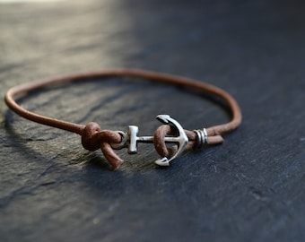 mens bracelet, sterling silver anchor bracelet, mens jewelry, brown leather bracelet, nautical bracelet jewelry gift for sailor boyfriend