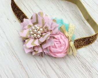 gold mint light pink girls headband baby girl headbands chiffon flower fabric flower Vintage infant newborn rolled rosette women