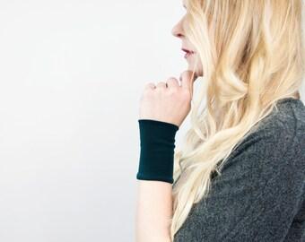 Stretch Wrist Cuff Bracelet, Fabric Jewelry, Dark Green Hunter Band Cuffs, Long Wide Arm Wristband Band, Jersey Tattoo Cover Up Covers