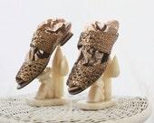 bronze metallic leather sandals / 10