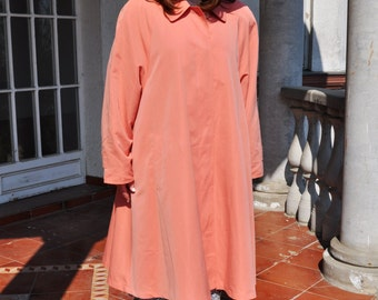 Vintage Pastel Peach Orange Preppy Swing Coat