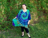 Tie Dye Poncho, Adult and Plus Size Tie Dye Dress, Forest Sky Tie Dye, L XL 2X 3X 4X