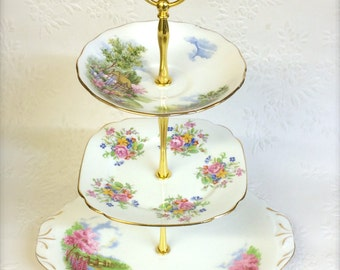 Queen Anne Meadowside  3 tier Vintage Cake Stand