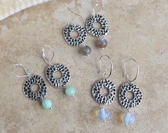 Dangle Earrings, Silver, Wire Wrapped Semi Precious Stone earrings, Antiqued Disk earrings, Beach Jewelry, Choose Stone, Inarajewels
