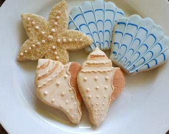 Seashell Sugar Cookies, 1 dozen, Starfish, Shells, Beach