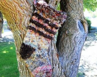 Rustic Christmas Stocking Variegated Nubby Wool