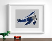 vintage airplane art print - Sopwith Pup - choose your colors - baby boy nursery art childrens playroom aircraft biplane plane