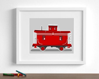 Train nursery art - Vintage Train wall art - caboose - pick your colors - childrens wall art locomotive railroad art