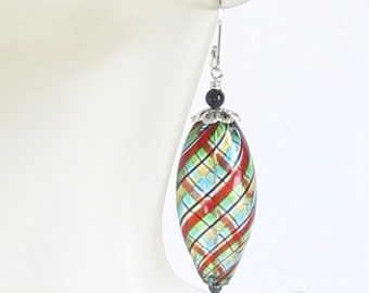 Blown Glass Colorful Spiral Long Oval Earrings, Venetian Earrings, Mouth Blown Earrings, Italian Jewelry, Sterling Leverbacks, Clip Ons