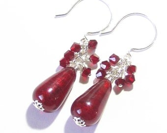 Red Cluster Earrings, Murano Glass Earrings, Red Teardrop Earrings, Venetian Glass Jewelry, Holiday Jewelry, Gifts For Her, Leverbacks