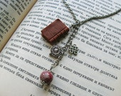 Antique Book Charm necklace, Book miniature necklace, Realistic mini books, Polymer clay miniatures, Natural Gemstones