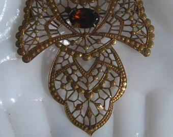 Retro Filigree Sash Pin Brooch with Imitation Glass Topaz / Gold Gilt Brass / Large