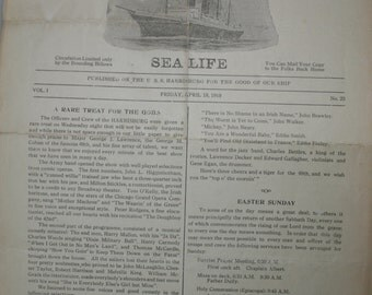Sea Life - Bi-Weekly Paper Published On The U.S.S Harrisburg - 1919 - WWI