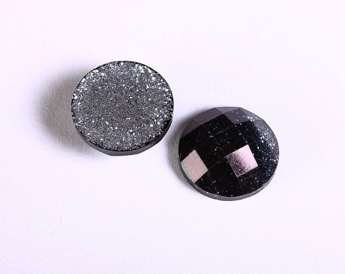 12mm Black glitter cabochon - gradient sparkly cabochons - Galaxy glitter cabochon - 12mm Kawaii cabochon (1551) - Flat rate shipping