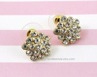 Rhinestone Flower Jewel Studs Earrings,  Rhinestone Flower Earrings, Bridal Wedding Earrings, Bridesmaid  Earrings, Style No. 6021
