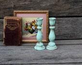 Pair of Sweet Little Wooden Candlesticks - Aqua Mint - Upcycled Decor - Wedding Decor - Wedding Candlesticks - Rustic - Distressed - Shabby